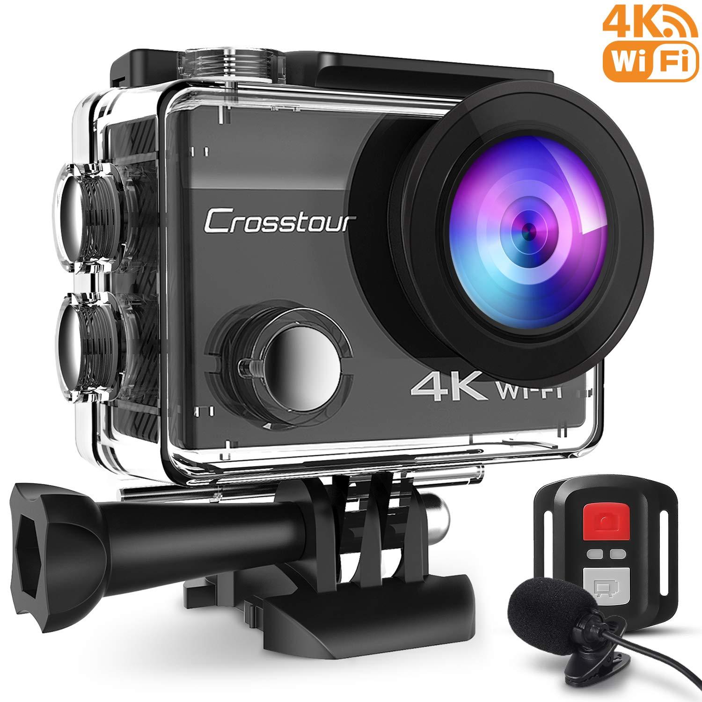 Crosstour cámara Deportiva 4k 16mp WiFi cámara acción acuática Agua de 40m con micrófono Externo y
