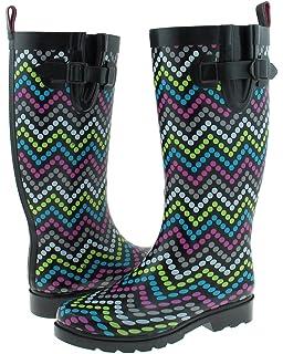 Ladies Tall Skinny Chevron Dots Print Rain Boot