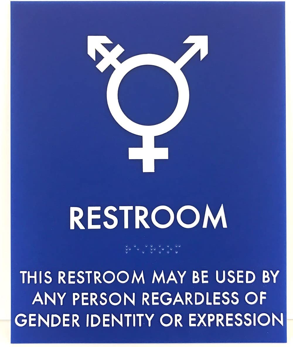 ADA Compliant Storm Gray//Black Transgender Symbol Restroom Sign 8 x 10 with Braille