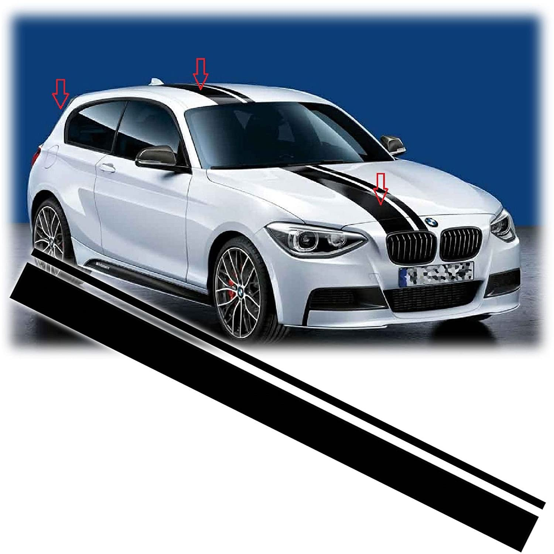 Xotic Tech Right Side JDM Vinyl Decal Sporty Racing Stripe Sticker for BMW 3 Series F30 F31 Hood Roof Rear Trunk Bumper Decor Black Xotic Tech Direct