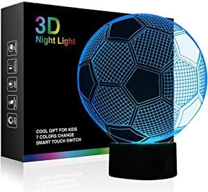 Soccer Night Light for Boys, Ticent Football 3D Illusion Lamps for Kids Bedroom Decors, 7 Color Touch Switch Cool Gifts for Girls Birthday Christmas Holidays