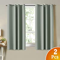 Blackout Room Darkening Curtains Window Panel Drapes - (Sage Color) 2 Panels per Set, 132cm Wide by 160cm Long Each Panel, 8 Eyelets/Rings per Panel by SmarCute (VIC3131)