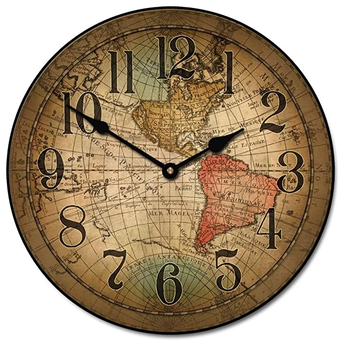 Vincenzo World Map Wall Clocks, 10 inch to 48 inches