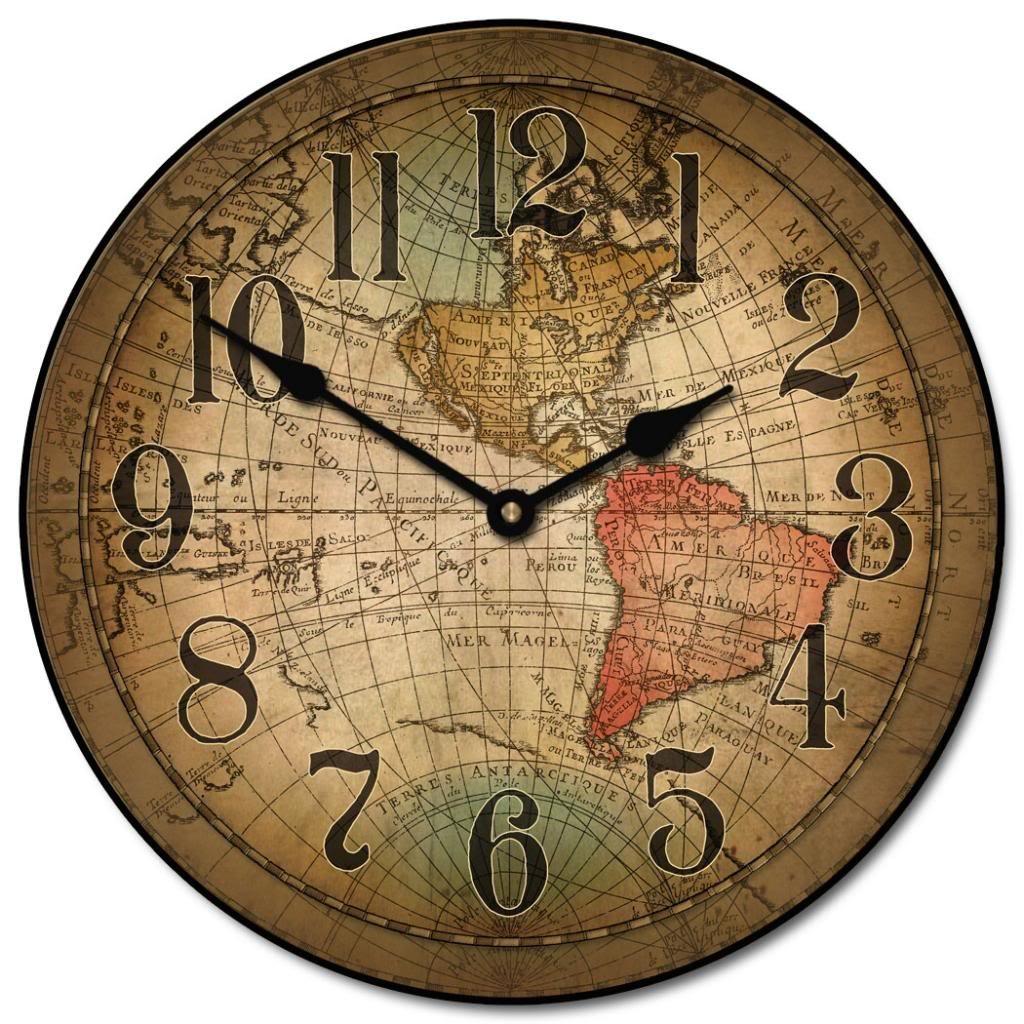 Vincenzo World Map Wall Clock, Available in 8 sizes, Most Sizes Ship 2 - 3 days, Whisper Quiet. by The Big Clock Store