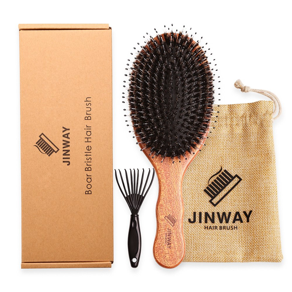 Wooden Boar bristle hair brush Large Paddle hair brush Mixed with Nylon Pin for men and women kids Soft massage Natural Large for Styling, Straightening, Long,Thick,Thin,Damaged Hair, gift set JY