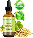 Botanical Beauty Organic Sesame Oil, 100% Pure / Cold Pressed. 2oz -60 ml. For Face, Hair And Body.