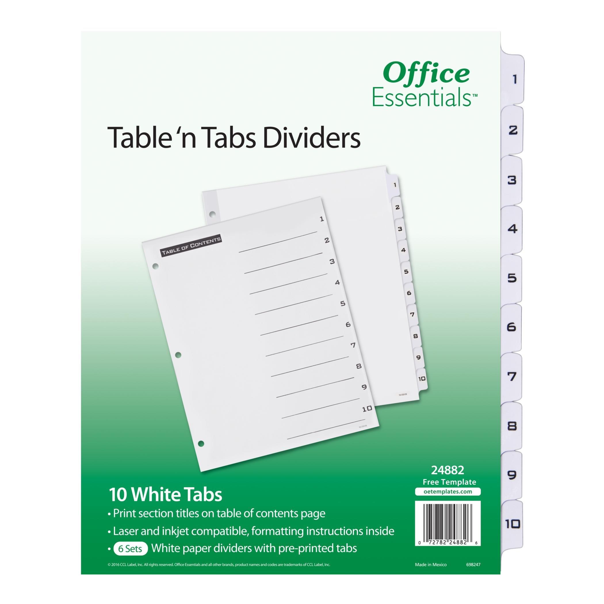 Office Essentials Table 'n Tabs Dividers, 8-1/2'' x 11'', 1-10 Tab, Black/White Tab, Laser/Inkjet, 6 Pk (24882)