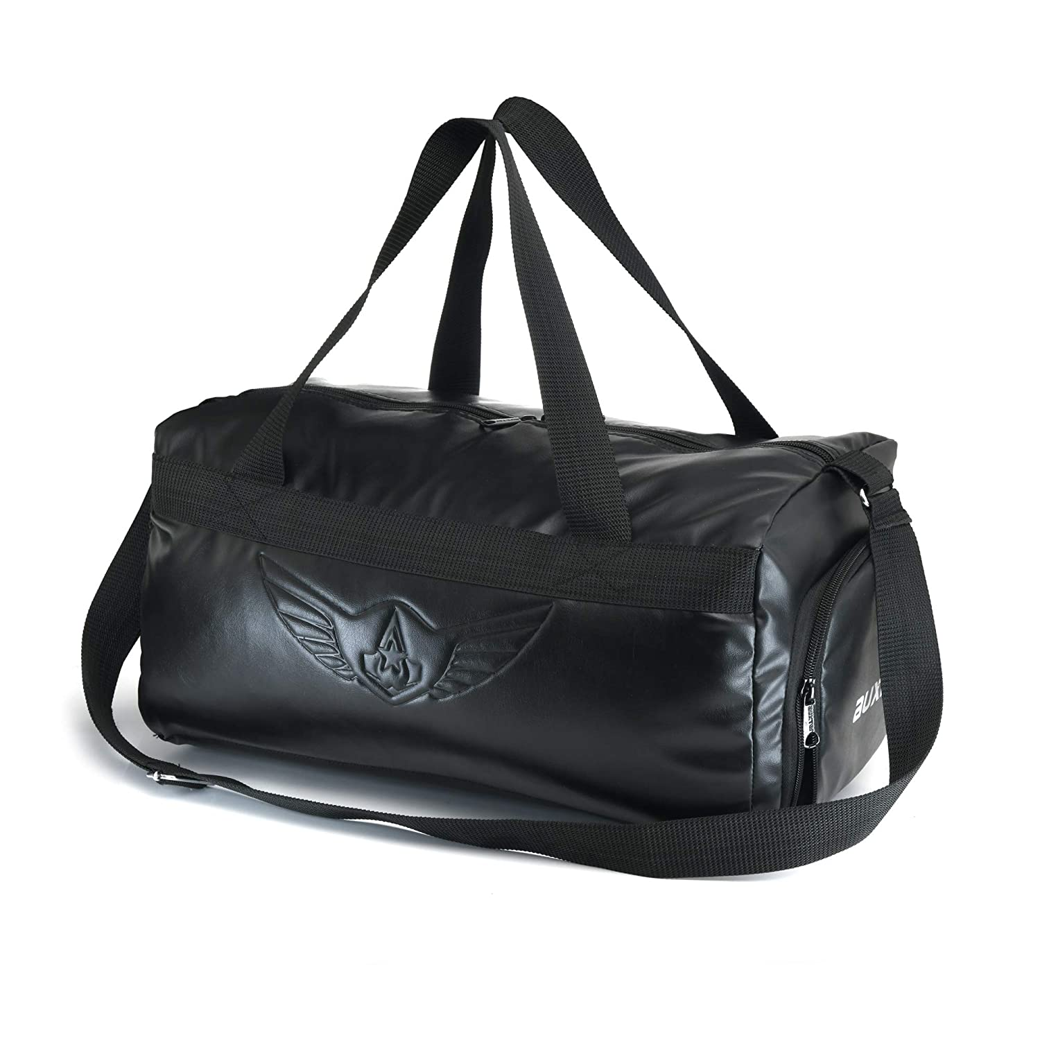 dee50a988c AUXTER Blacky Premium Leatherette Gym Bag with Shoe Pocket (Emboss Logo)   Amazon.in  Bags