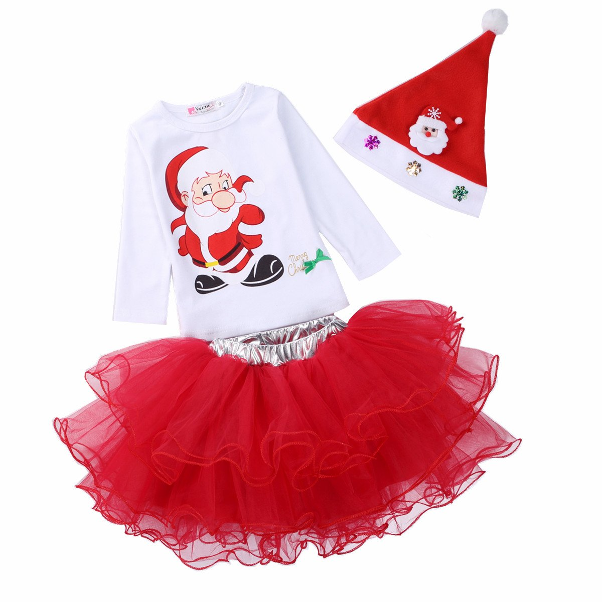 Little Girls' 3-piece Set Shirring Skirt and Santa T-shirt with Christmas Hat BWH-112670