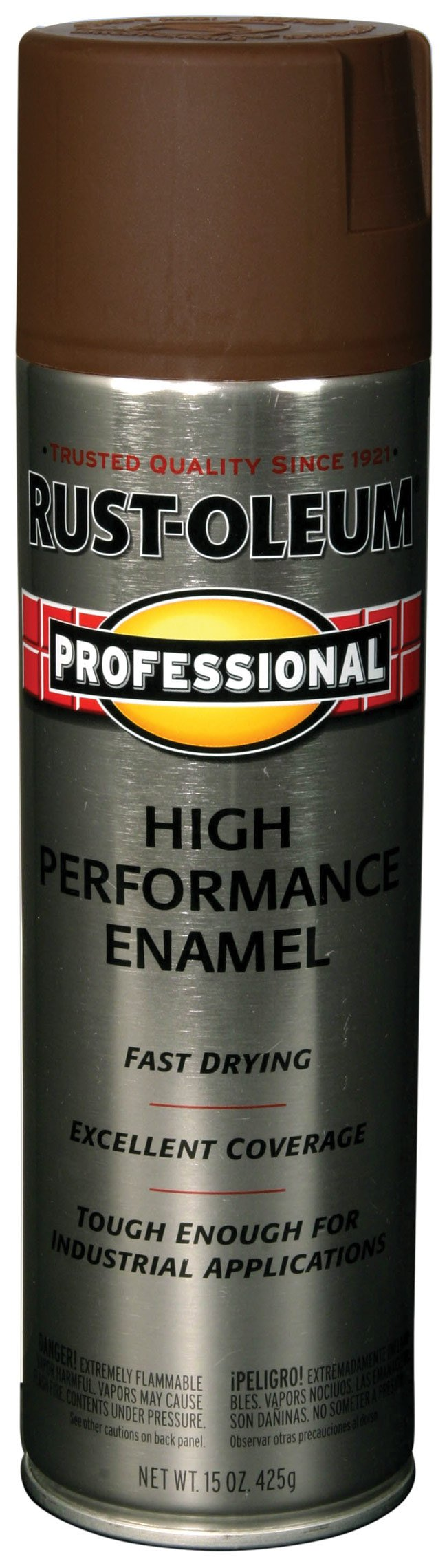 Rust-Oleum 7548838 Professional High Performance Enamel Spray Paint, 15 oz, Dark Brown