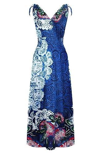 2LUV Women's Sleeveless Tie Dye/Paisley/Antique/Peacock Print Maxi Dress