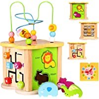 Baby Small Activity Cube Toys 6-in-1 Play Center Wooden Bead Maze Animal Shape Sorter Clock Learning Developmental…