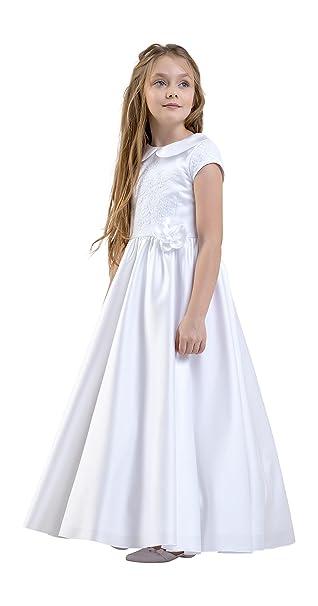 Vestido de Saten Nina Primera Comunion Dama Honor Manga Corta con Cuello CD-4: Amazon.es: Ropa y accesorios