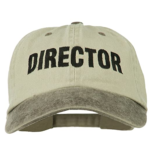 377e8bd4e69 E4hats Movie Director Embroidered Washed Two Tone Cap - Beige Brown OSFM