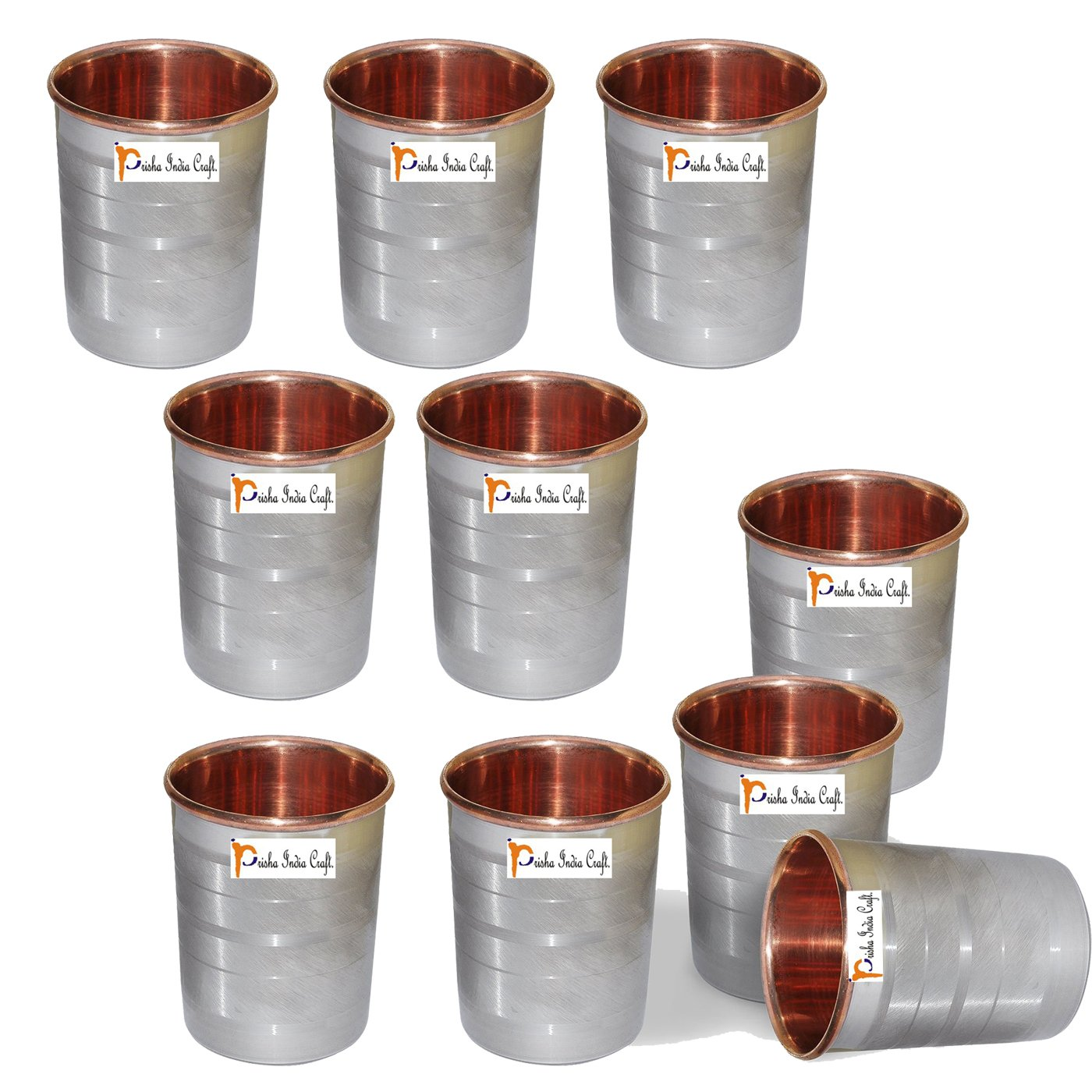 Set of 10 - Prisha India Craft ® Copper Glass Cup for Water - Handmade Water Glasses - Outside Steel Inside Copper Traveller's Copper Mug for Ayurveda Benefits - CHRISTMAS GIFT ITEM