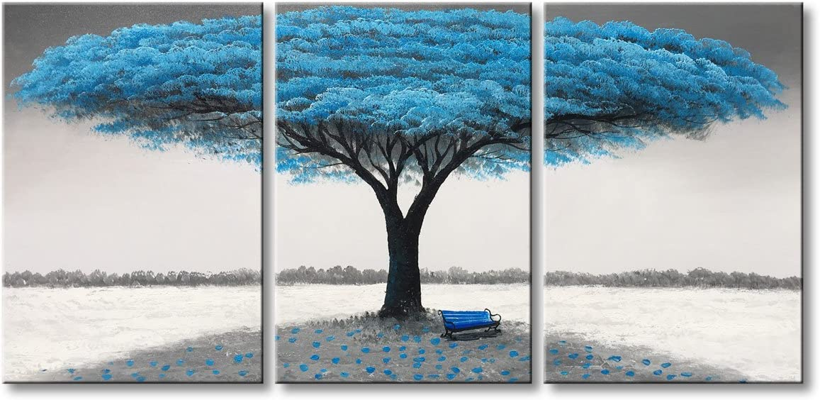 Hand Painted Blue Tree Artwork Landscape Canvas Wall Art Decor Painting