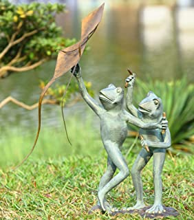 Kite Flying Frogs Garden Sculpture