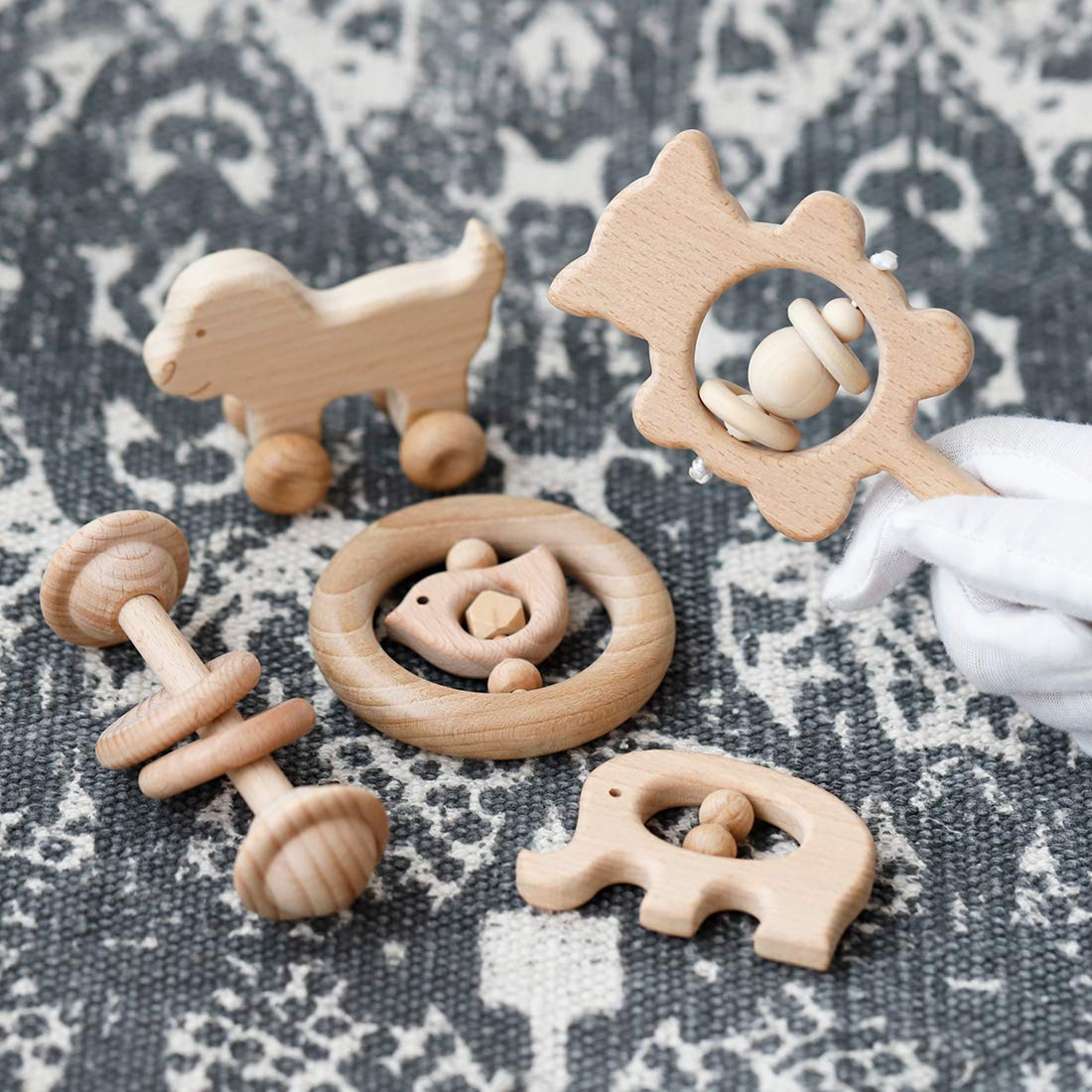 Wooden Baby Rattles Montessori Toys Skwish Wood Teether Organic Beech Teething Ring Nursing New Baby Gift of 5pc Set by Promise Babe (Image #1)