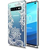 Galaxy S10 Case Huness TPU Grip Bumper and Clear Flower Transparent Hard PC Backplate Hybrid Slim Phone Case Cover for Samsung Galaxy S10 Phone (Flower)