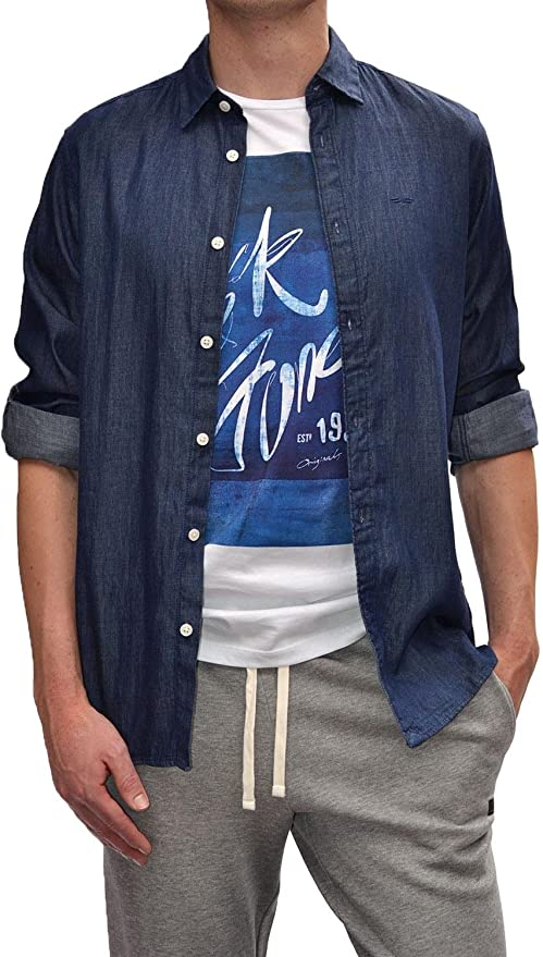 Selected Camisa Vaquera ABONE-Chambray Blue XXL: Amazon.es ...