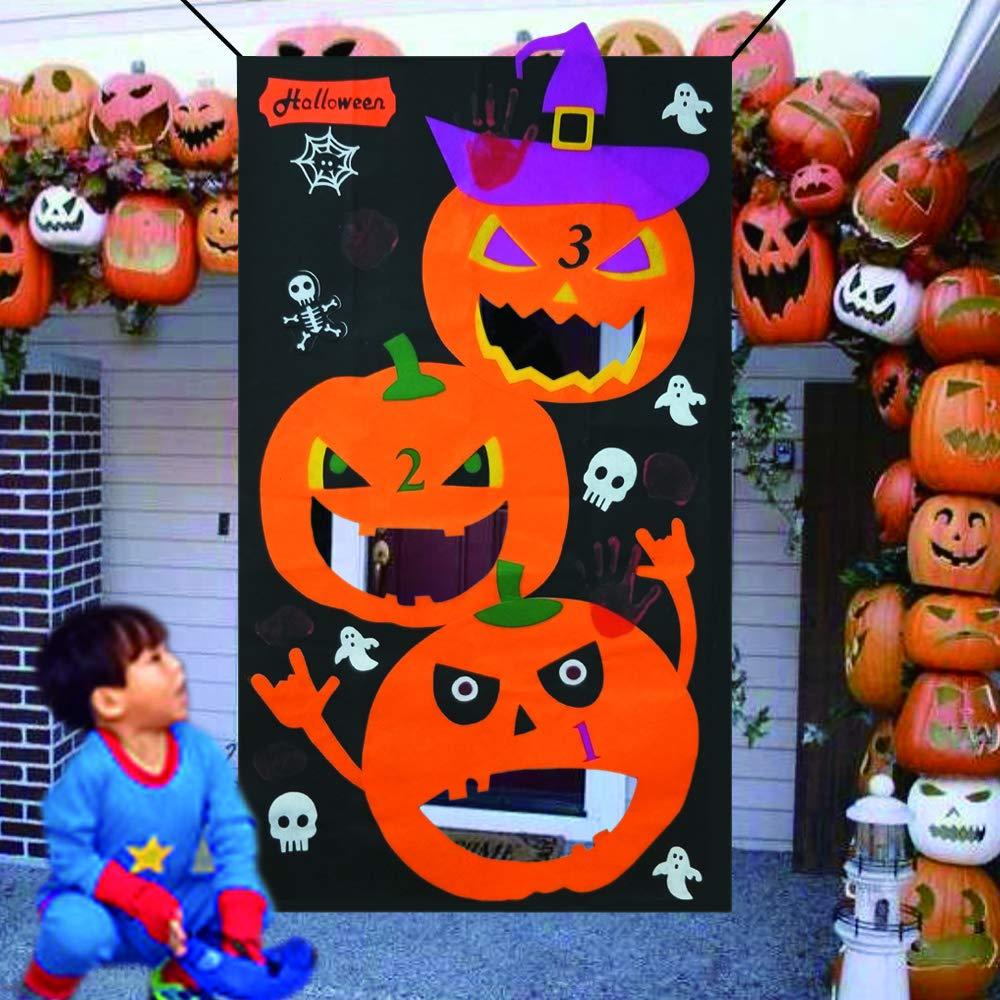Amajoy Pumpkin Bean Bag Werfen Spiele Set mit 3 St/ück Sitzs/äcken Halloween Indoor Outdoor Wurfspiele f/ür Kinder Halloween Party Dekoration