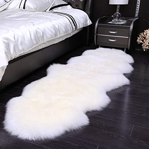 QHWLKJ Faux Sheepskin Fur Rug Soft Fluffy Carpets Chair Couch Cover Seat Area Rugs for Bedroom Sofa Floor Living Room 2 x 5.3, White
