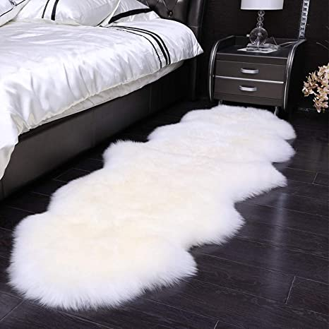 Superb Qhwlkj Faux Sheepskin Fur Rug Soft Fluffy Carpets Chair Couch Cover Seat Area Rugs For Bedroom Sofa Floor Living Room 2 X 5 3 White Pdpeps Interior Chair Design Pdpepsorg