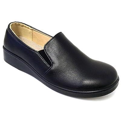 J-WD02 Women's Comfort Work Shoe Hotel Restaurant Walking Gores Slip on Loafers Slip and Oil Resistant   Loafers & Slip-Ons