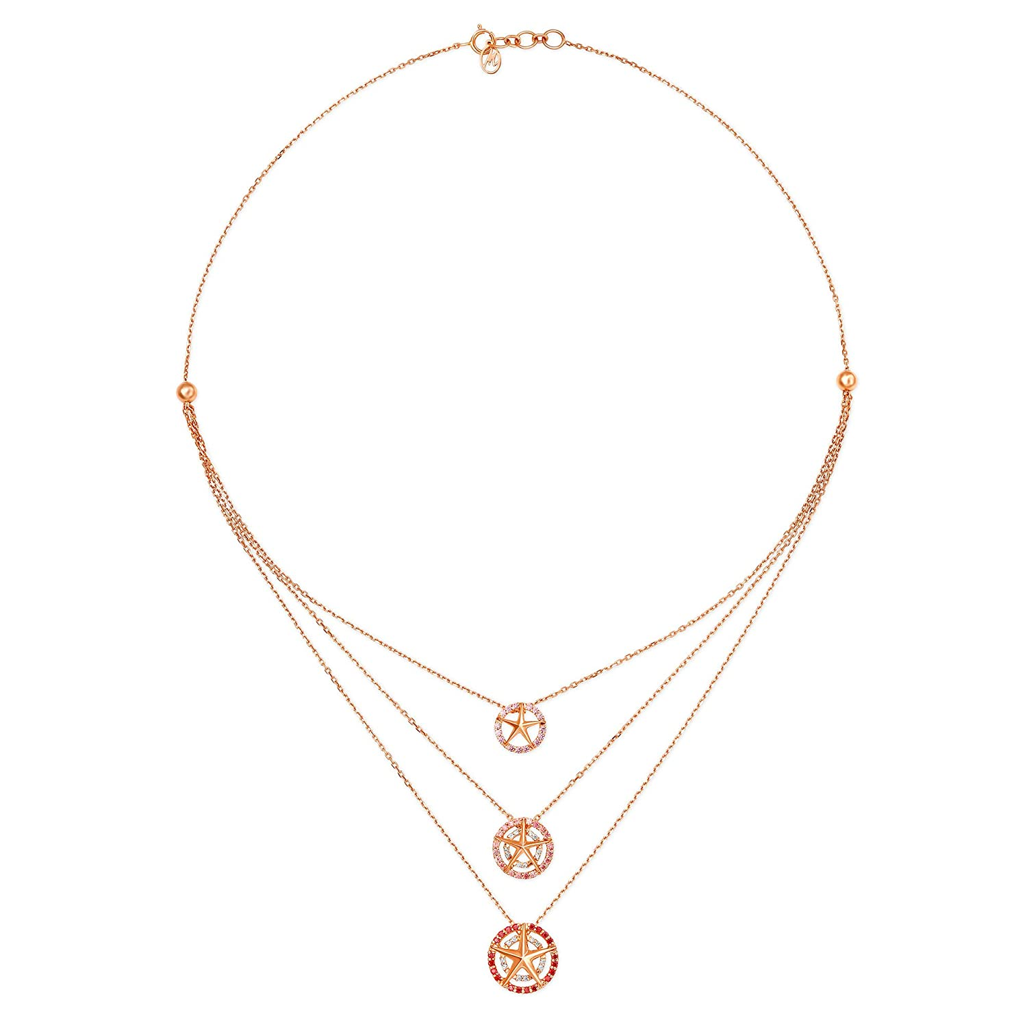 Buy Mia By Tanishq 14kt Rose Gold And Cubic Zirconia Necklace For Women Online At Low Prices In India Amazon Jewellery Store Amazon In