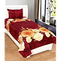 Rite Clique 3D Polycotton Single Bed Sheet (1 Single Bed Sheet, 1 Pillow Cover) 9249