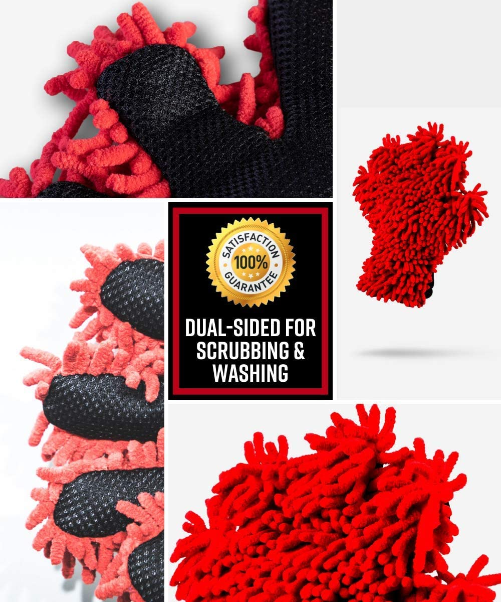 Adams Microfiber 5-Finger Dual Wash Mitt Soft Chenille Microfiber for Safe Washing Premium Scrubbing Side That is Great for Bug Guts Tar and Other Tough to Remove Grime