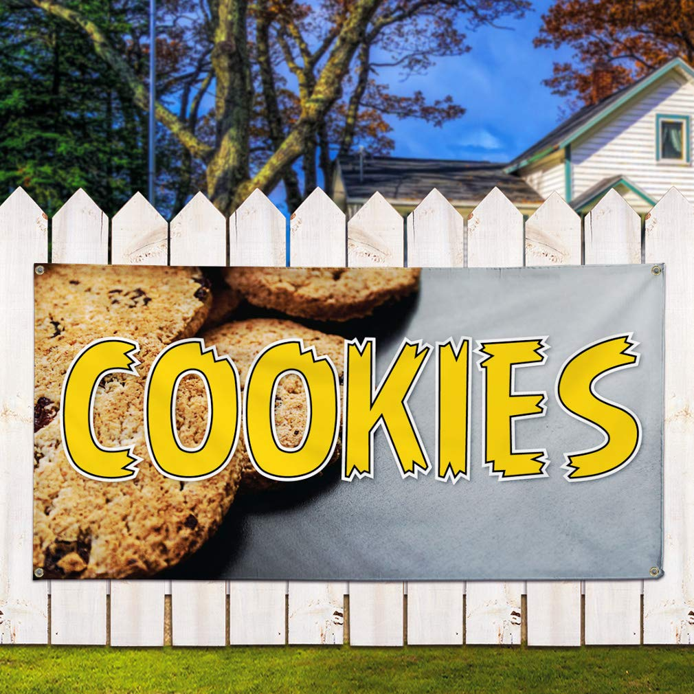 Set of 2 Vinyl Banner Sign Cookies #1 Business Cookies Outdoor Marketing Advertising Yellow 32inx80in Multiple Sizes Available 6 Grommets