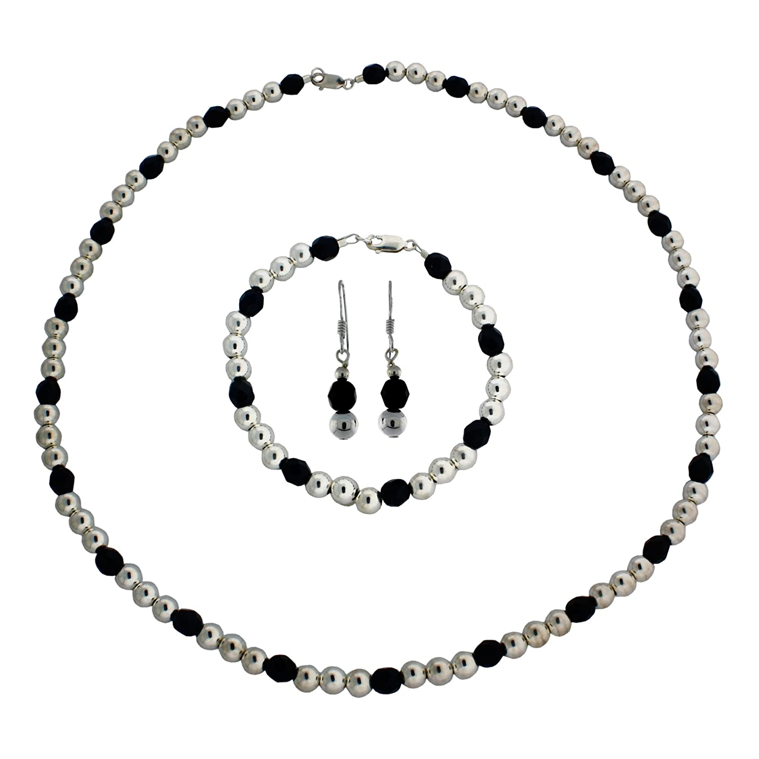 7 1//2 Bracelet and Earring Set Sterling Silver 6mm Faceted Crystal 18 Necklace