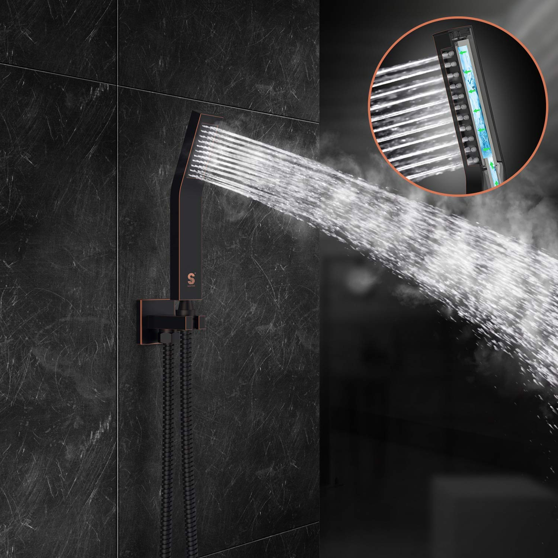 Moderna Tecnologia Air Injection Ottone Massiccio Ecologico S R Sunrise Nero Sistema Doccia Facile Installazione Soffione Doccia A Pioggia Quadrato Da 25 25cm Casa E Cucina Sistemi Per Vasche Da Bagno