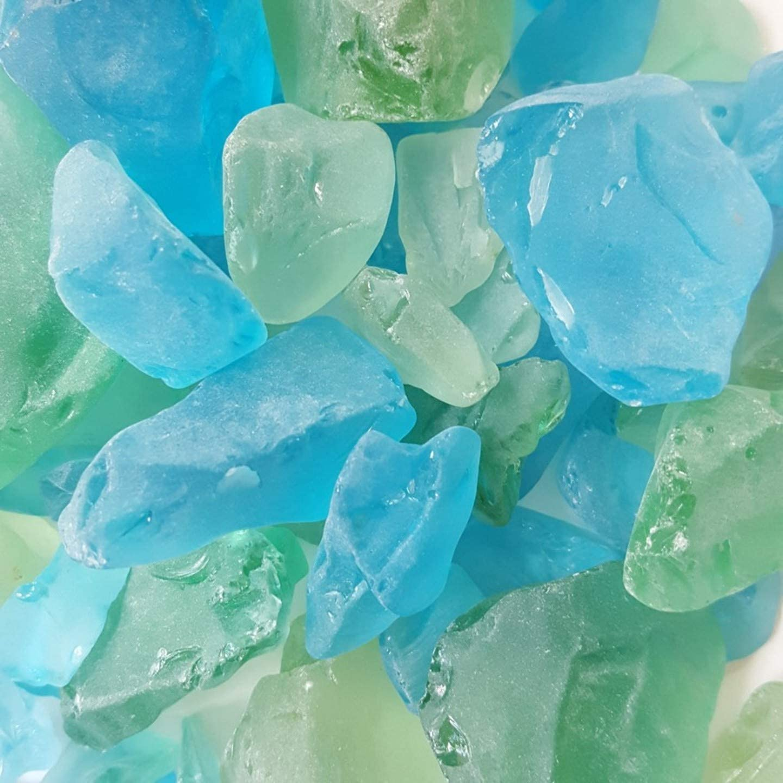 WeJe Glass Gems Sea Glass Chunks for Home Decor Art Craft Vase Filler Aquarium Gravel (80oz (5 LBS), Sea Glass Chunks - Mixed Green & Turquoise)