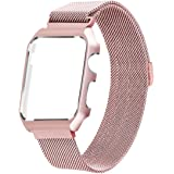 Apple Watch Band Milanese Loop,LikeItY Stainless Steel Magnetic Band with Metal Case for Apple Watch Series 1/2 - Shockproof Protective Bumper Replacement Strap(38mm Rose Gold)