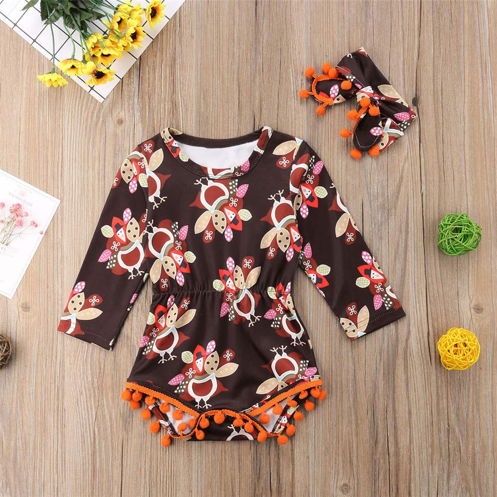 ddf487990 Amazon.com: Zoiuytrg Newborn Baby Girl Thanksgiving Outfit, Infant Long  Sleeve Tassel Turkey Romper Jumpsuit Bodysuit Outfit, 0-24 Months: Clothing