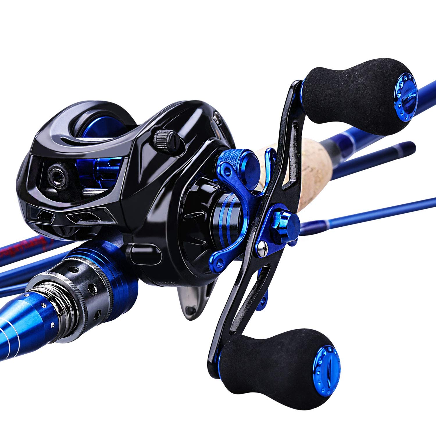 Sougayilang Fishing Baitcasting Combos, Lightweight Carbon Fiber Fishing Pole and 11 1BB Corrosion Resistant Bearings Fishing Reel-Right Left Hand for Travel 4-Piece Salt Fresh Water