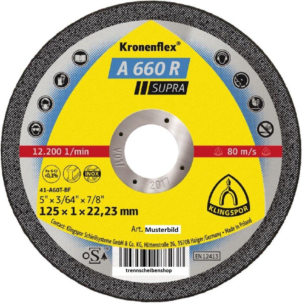 Klingspor 328906 Kronenflex A 660 R Disco de Corte Inox para el Corte Manual 125 mm x 1 mm x 22.23 mm