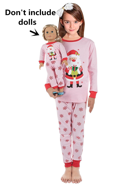 Babyroom Girls Matching Doll&Toddler Giraffe 4 Piece Cotton Pajamas Kids Clothes Sleepwear GHW-DEER