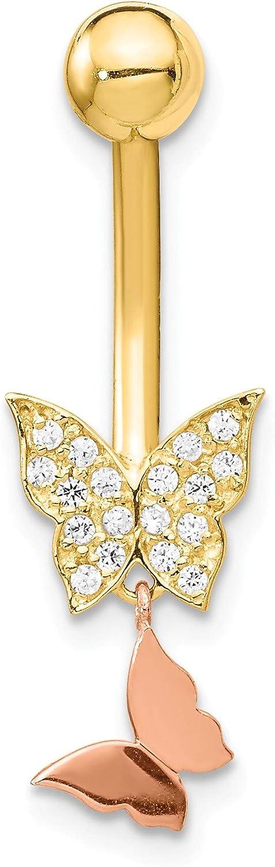 Bonyak Jewelry 14k Two-Tone Double CZ Butterfly Dangle Belly Ring in 14k Yellow Gold