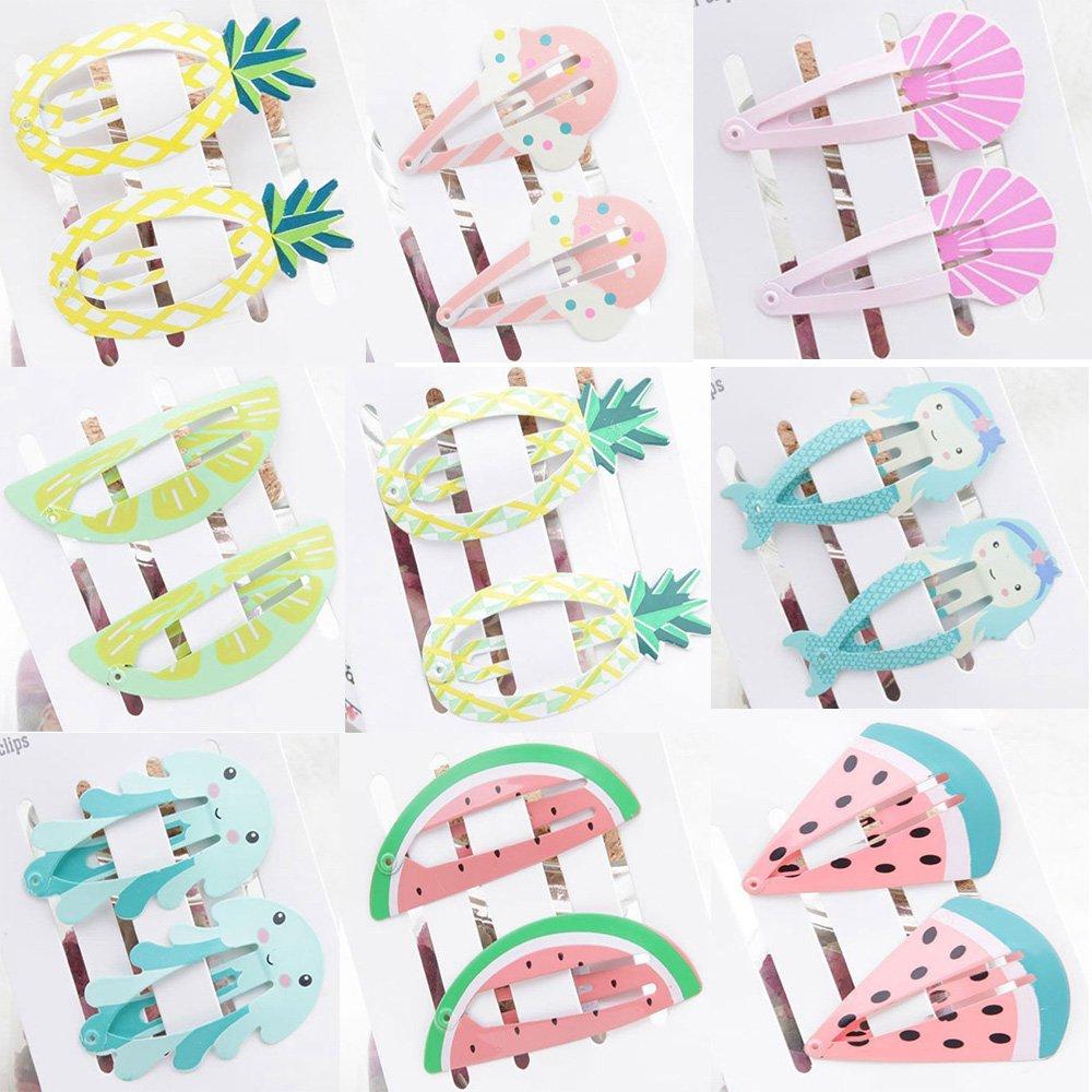 9 Pair Cute Korean Cool Fruit Ice Cream Girls Baby BB Hair Clip, Kids Princess Mermaid Seaweed Shell Hairpins Hair Barrettes ICYANG