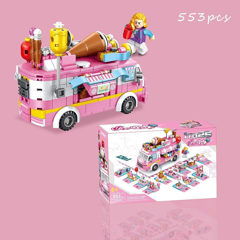 25 Models Pink Construction Learning Building Bricks Engineering Blocks Kit for 6-12 U /& I Direct STEM Building Blocks Set 553 PCS Ice Cream Truck Toys for Girls Year Old Kids