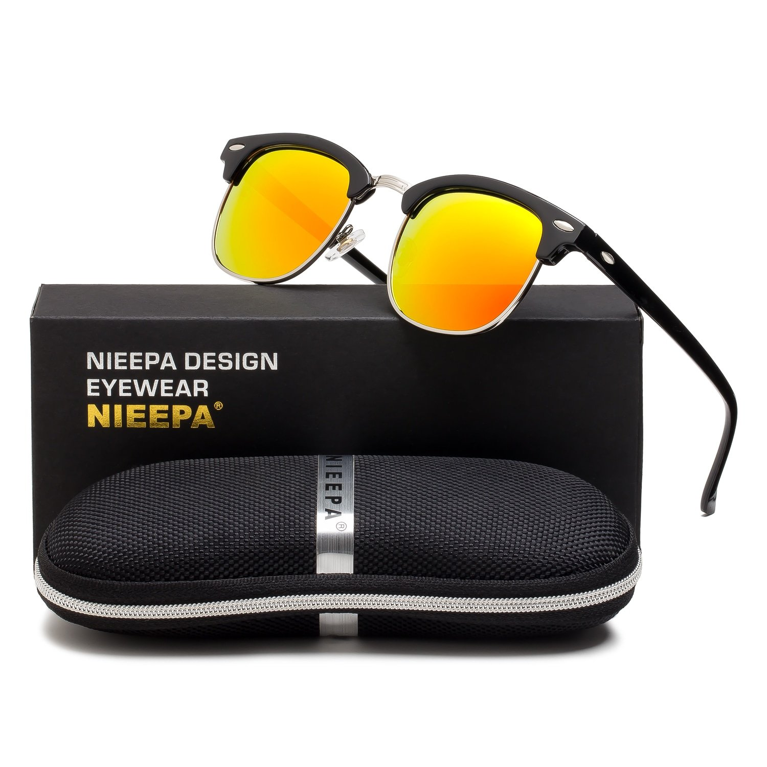 NIEEPA Semi Rimless Polarized Sunglasses Classic Brand Sun Glasses With Metal Retro Rivets (Red Lens/Bright Black Frame)