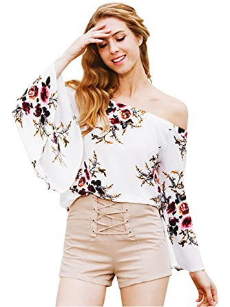 be6dc45a35ad50 Simplee Apparel Women s Off Shoulder Long Sleeve Floral Print Blouse Shirt  Top