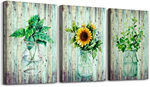 Glass vases and sunflowers canvas wall art for bedroom bathroom living room kitchen wall decor, modern style of green plants leaves watercolor painting canvas prints 3 Piece home decoration murals