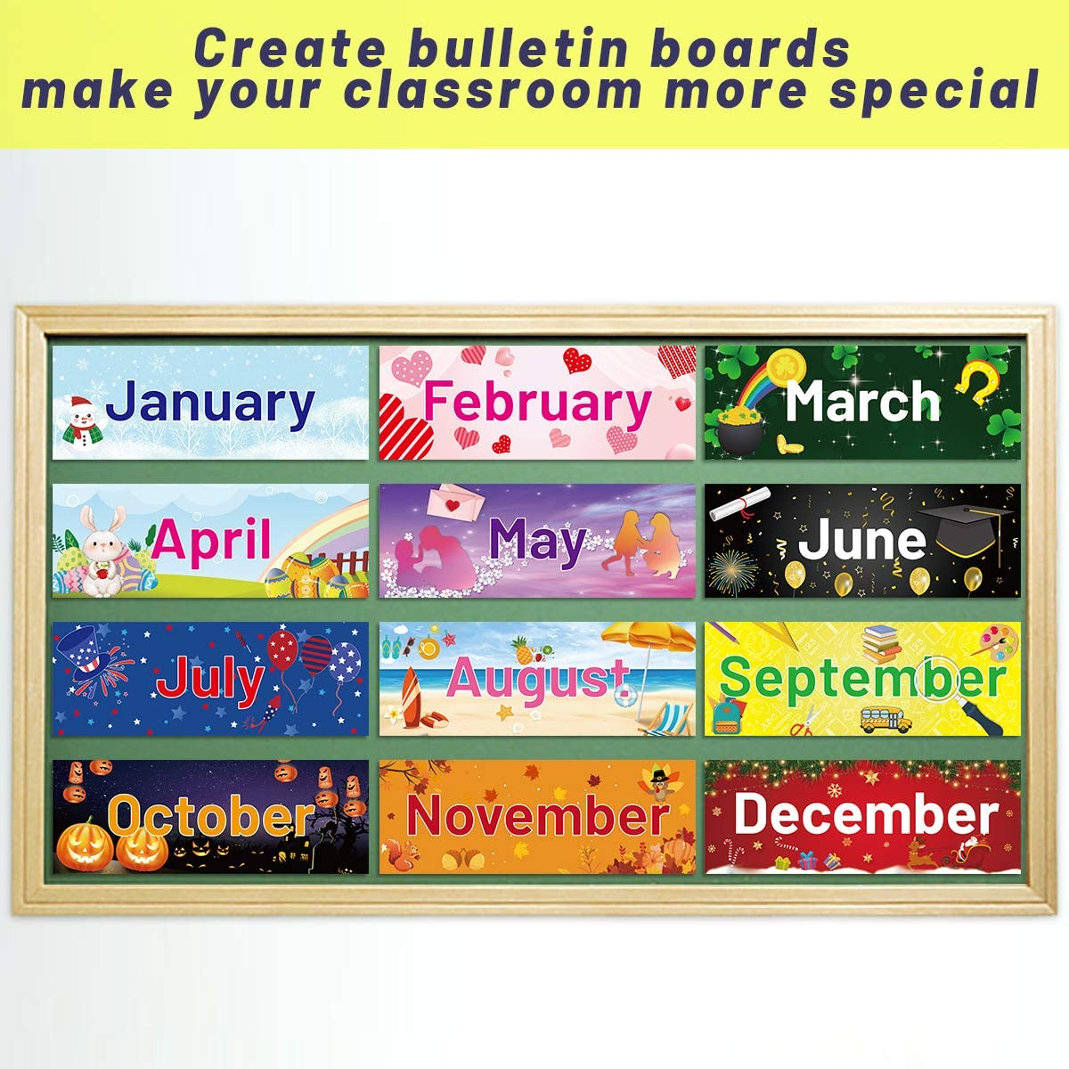 Amazon Com Holiday Monthly Headliners Seasonal Months Of The Year Bulletin Board Set Office Products