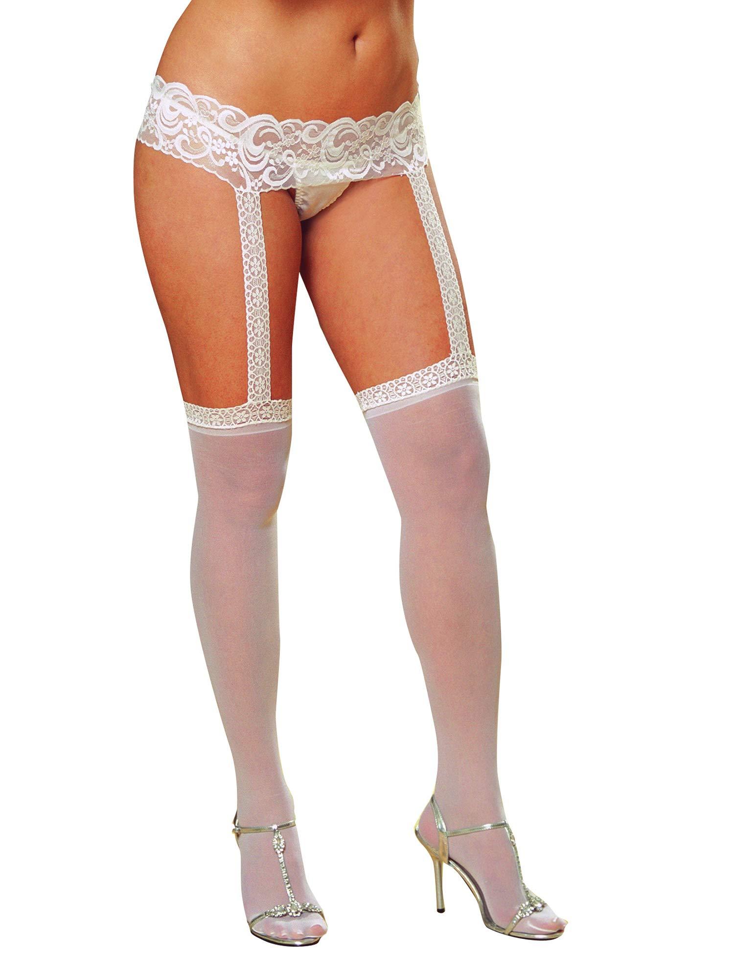 Dreamgirl Women's Plus-Size Sheer Garter Belt and Stockings Set