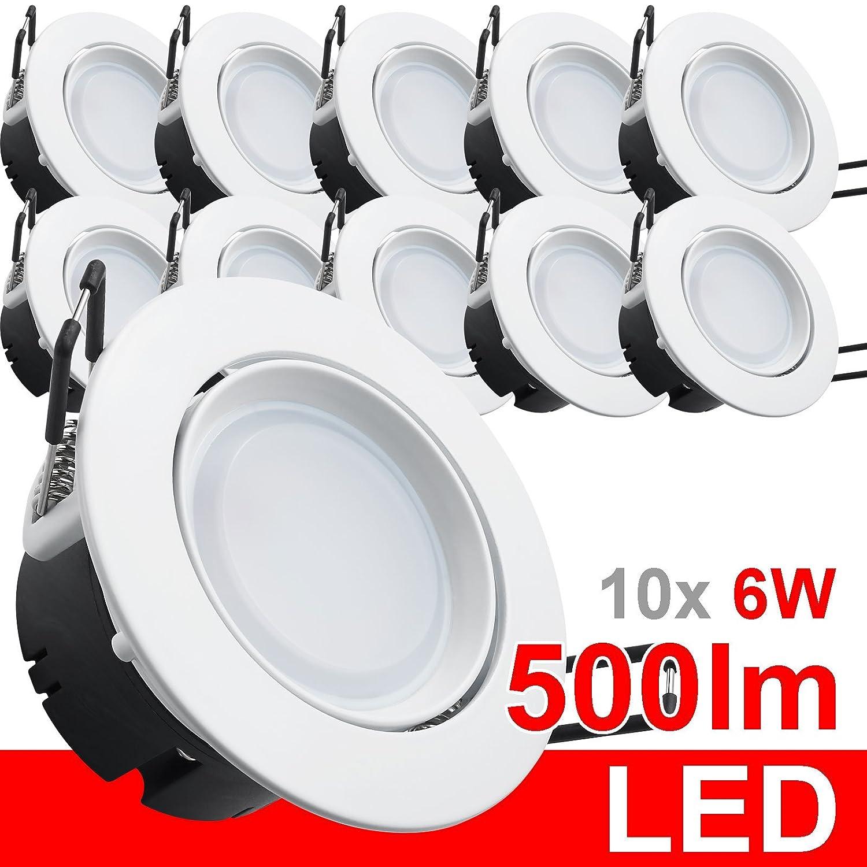 10x LED Einbaustrahler 230V Einbauleuchte Deckenleuchte 6W rund warmweiß IP20 500 Lumen weiß Aluminium Einbauspot Einbauleuchte Einbaulampe Deckenlampe Deckenstrahler