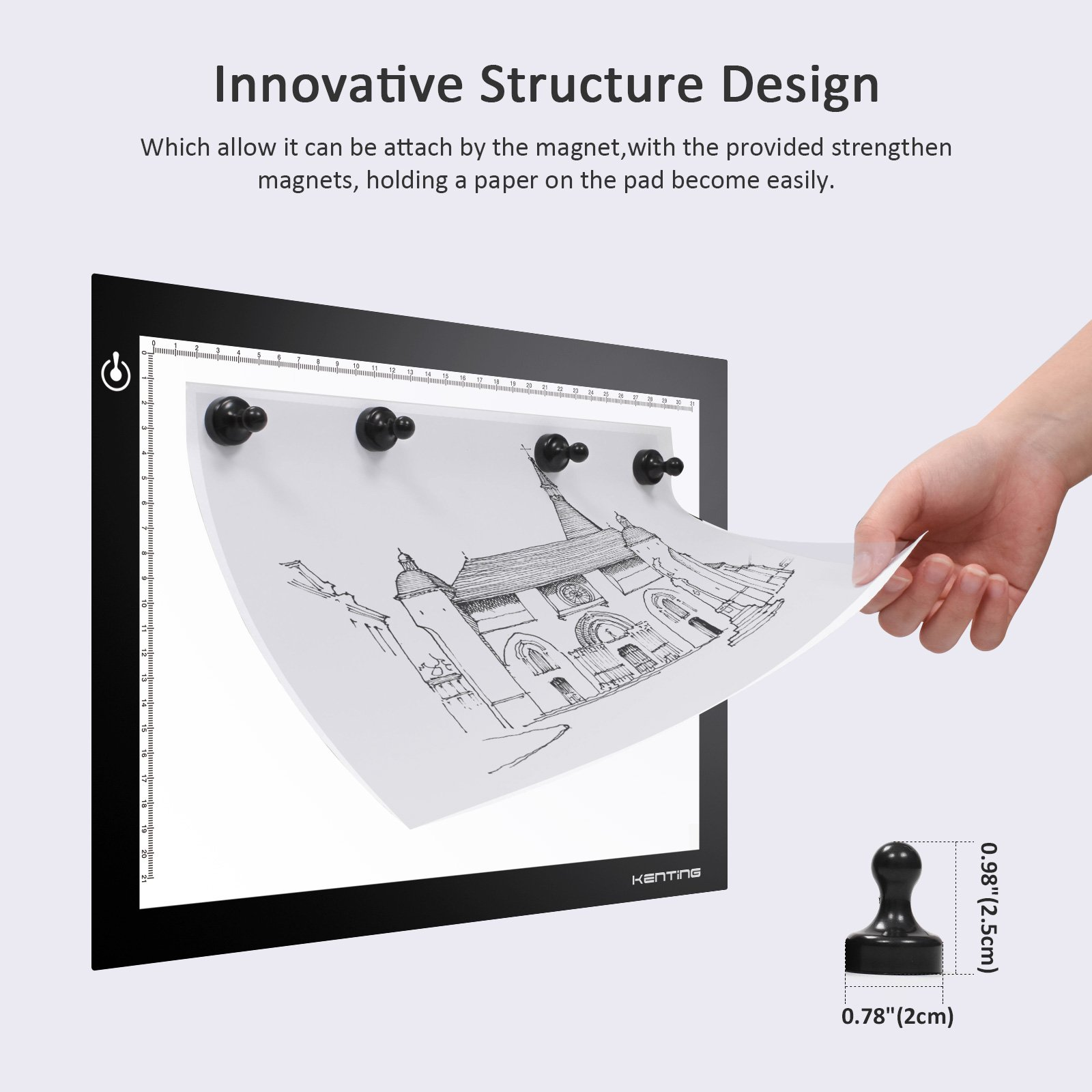 Kenting Magnetic K4M Portable LED Tracing Light Pad Light Box Light Table USB Powered Drawing Board Tattoo Pad for Animation, Sketching, Designing, Stenciling X-ray Viewing